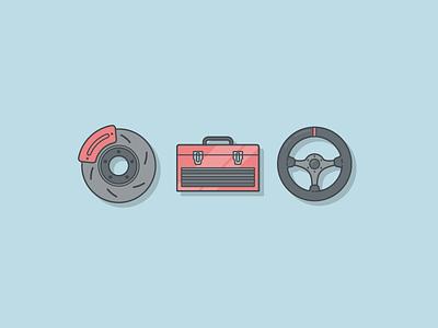 Unused Car Icons steering wheel rotor brake icons drive wheel toolbox tools car