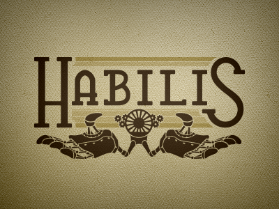 Habilis Logo v1 logo brand identity steam steampunk hands illustration type typeface