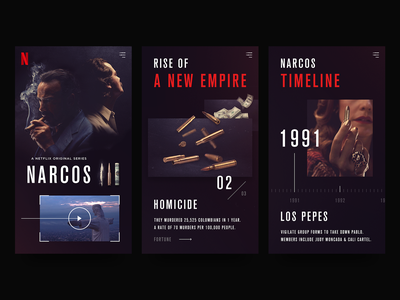 Narcos mobile site mobile design web design ui design responsive design layout netflix creative design asset creation