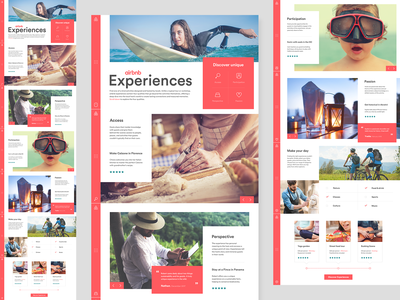 Airbnb Experiences site airbnb web design ui design responsive design colour block layout creative design