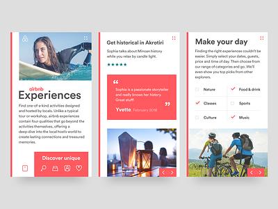 Airbnb Experiences mobile site mobile ui mobile design colour block airbnb web design ui design responsive design layout creative design