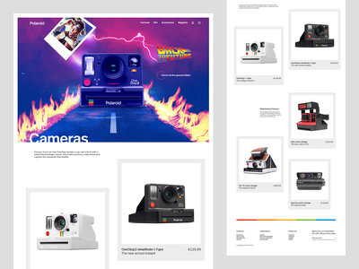 Polaroid site Cameras section cameras ecommerce polaroid image manipulation asset creation web design ui design responsive design layout creative design