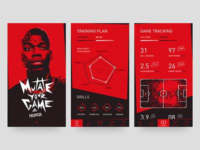 Adidas Predator iOS app football mobile app mobile ui adidas design image manipulation mobile design ui design responsive design layout asset creation web design creative design