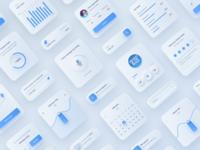 Neomorphism Mobile App White UI Kit
