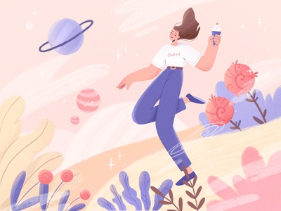 Ice cream world 🍦 flat flat illustration girl girl illustration space sweets trees nature nature art vector character illustration design ui