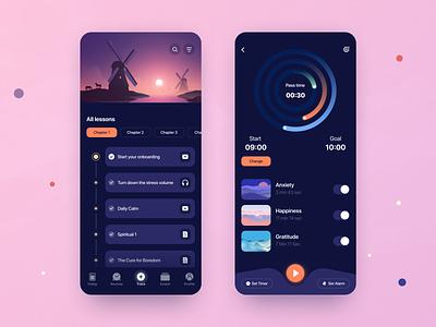 Sleep App 😴 timer courses elearning sleep sleepapp meditation meditation app iosapp mobileapp ux concept illustration uxui design ui