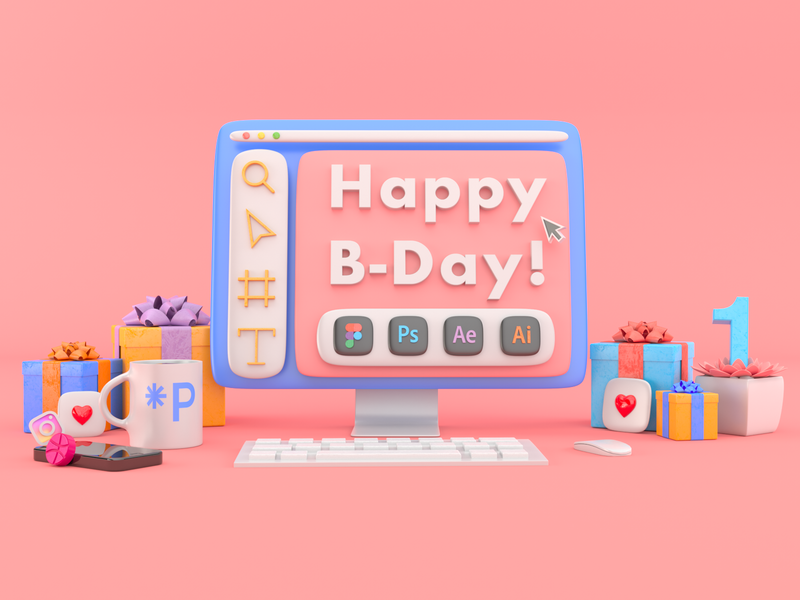 3D Studio's Happy B-Day isometric illustration isometry c4dart c4d 3d art 3d illustration 3d vector illustration ui