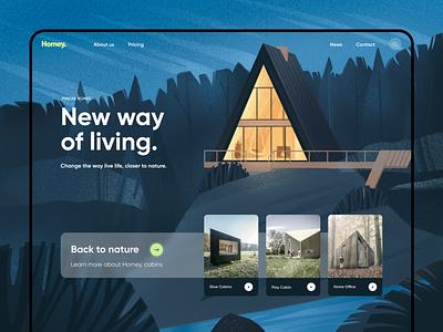 Homey. nature illustration nature art booking travel typography vector ux website concept illustration uxui design ui
