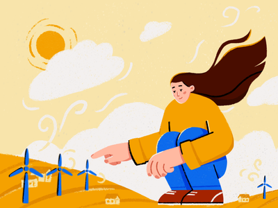 Wind Energy Illustration wind turbine wind power pipes green energy factory ecology character illustration design ui