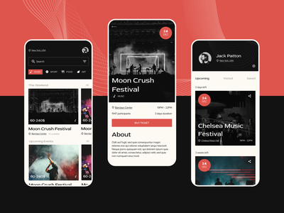 🎸 Events App music festival concert eventapp event music app iosapp mobile app typography ux concept uxui design ui
