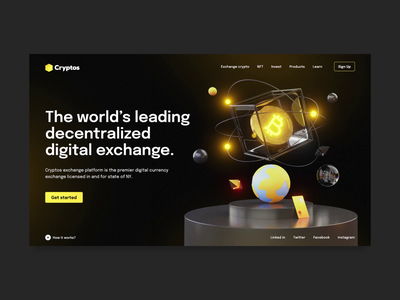 Cryptos Trading Platform motion blender cinema4d 3d illustration 3d animation 3d modeling 3d nft investments trading crypto exchange cryptocurrency crypto aftereffects animation website ux uxui design ui