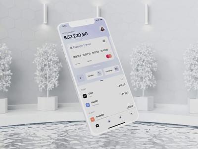 Banking Application 3d animation 3d wallet motion design banking fintech iosapp mobileapp animation ux uxui design ui
