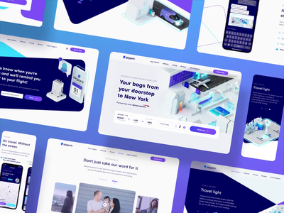 AirPortr website airplane animation motion motion design 3d illustration 3d webapp webservice website airlines booking uxui ux ui