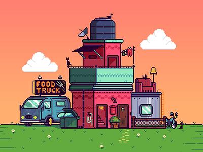Pixel Home aseprite pixelartist 8bit pixel illustration