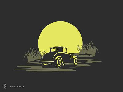 Illustrative Logo design vector samadaraginige moon car road old branding illustration logo mark minimal simple