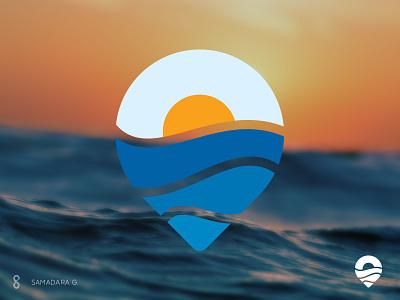 Outdoors/Travel/Ocean Logo samadaraginige minimal vacation tour sunset simple outdoors location pin sun sky ocean explore travel