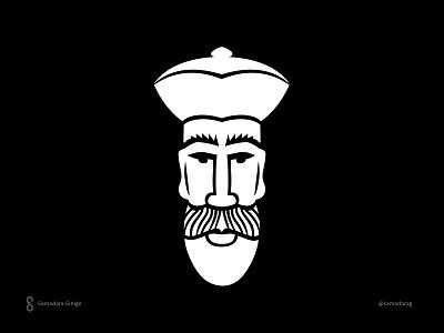 Face Logo srilanka food eat restaurant minimal simple features beard king lanka face