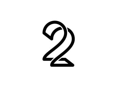 22 monogram simple logo number connected art line monogram 22