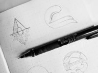 Sketches for a logo related to travel, journey and explore