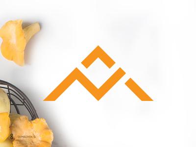 Logo mark for a Mushroom Producer produce design line logo mark minimal simple monogram mountains mushroom