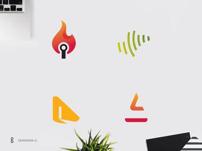 Logo-mark exploration samadaraginige samadara asia technology ict knowledge ignite clever line typography monogram logo mark minimal simple