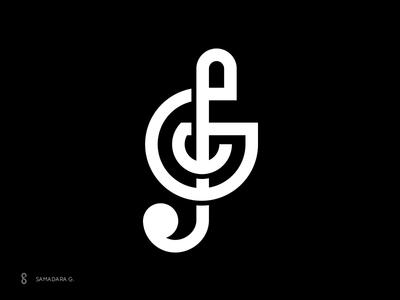 SG Monogram minimal letter typography monogram mark logo simple startup note music sg
