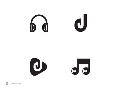 DJ Logo mark exploration music dj typography monogram logo mark minimal letter simple