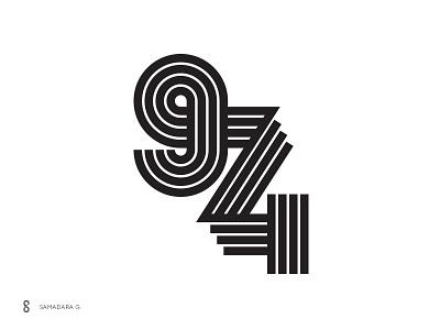 974 monogram line creative number typography monogram logo mark minimal letter simple