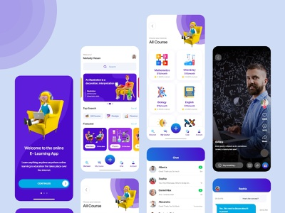 e-Learning Mobile App Development xd wireframe landing prototype uiux illustration branding 3d logo motion graphics graphic design website animation ui app education