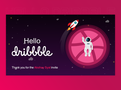 Hello Dribbblers thank you uidesing uiux invitaiondesign invitaion invite design invite first design first shot firstshot uidesign ui planet hellodribbble hello dribble hello world hello