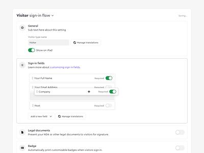 Dashboard Settings toggles drag and drop settings dashboard app web ux ui design
