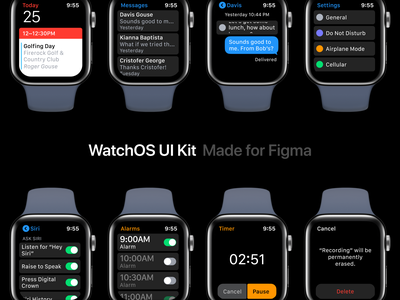 WatchOS UI Kit for Figma library figma apple watch mobile kit ui design