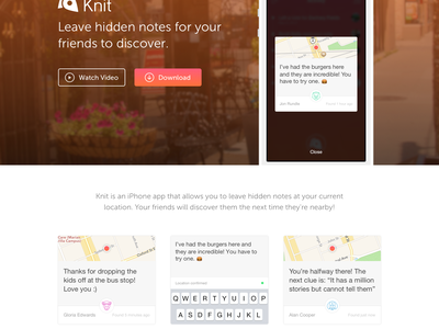 Knit Website design ios web ui knit app landing page iphone