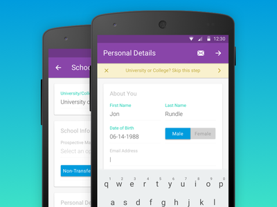 University Form App - Android material design android university college form material design