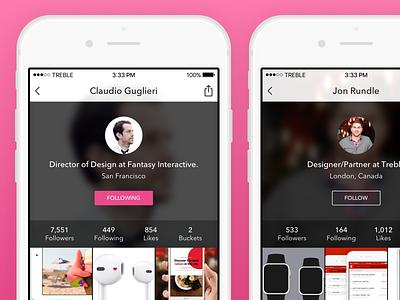 Redesigned Bounce Profile Screen bounce profile app mobile design ui ios