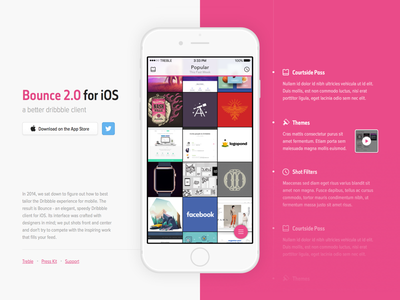Bounce 2.0 Website [WIP] dribbble ios app bounce website ui design
