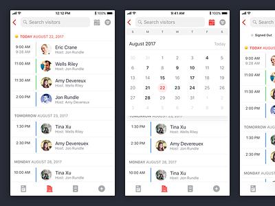Visitors List iphone visitor list ios mobile ux ui design
