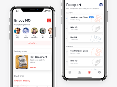 Envoy Mobile - iPhone X stamps cards mobile ios iphone ux ui design