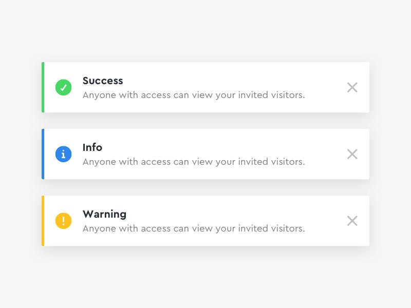 Toast Messages dashboard web notification alert message flash toast ux ui design