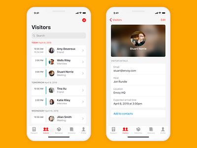 Vistors Information list ux app iphone mobile ios ui design
