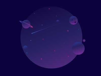Outer Space round galaxy circle vector sun space planet meteor illustration gradient fantastic