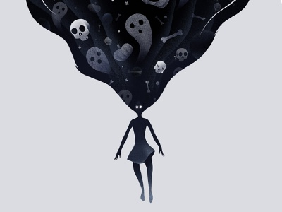Nightmares procreate ipadpro dribble warm-up warmup spooky dream scary ghost bone skull nightmare halloween design illustration