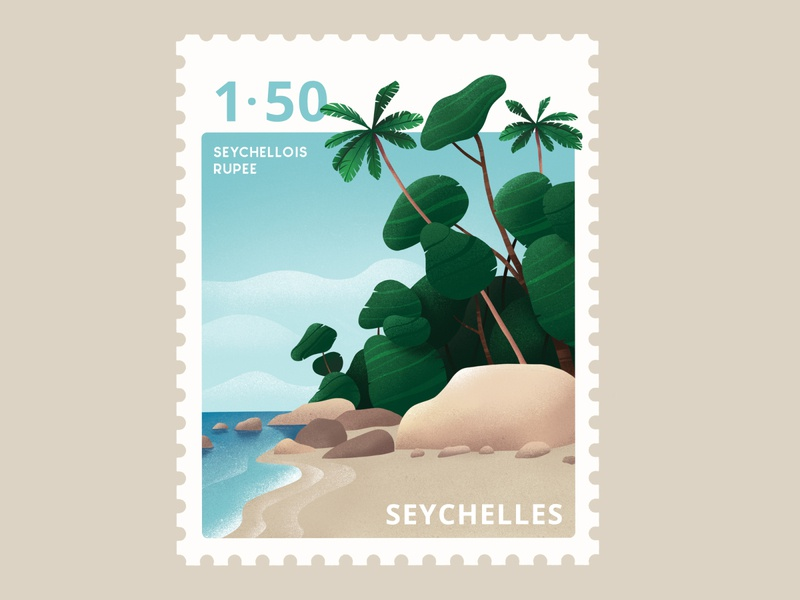 Seychelles Stamp warm-up challenge weekly travel stamp seychelles procreate ipadpro illustration graphics design beach