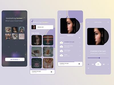 Mood music app mood music purple app ui design