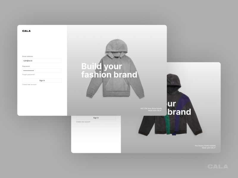 CALA Sign In / Log In figma product design branding marketing fashion modern web design ux ui log in sign in