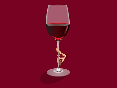 Glass of wine with girl on it socialmedia social icon branding instagram design template logo vector illustration