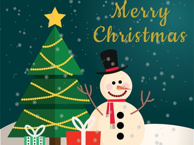 christmas card web flat vector template instagram illustration design