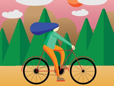 girl on bicycle illustrator bicycle girl on bicycle vector illustration