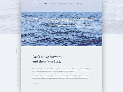 Over the seas typography website blue sea ui ux webdesign minimal clean