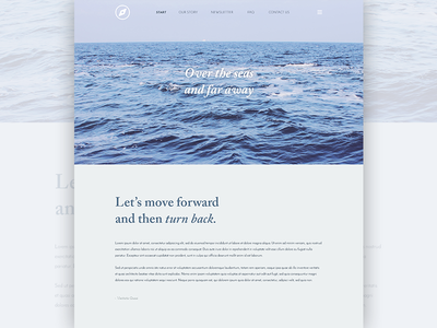 Over the seas typography website blue sea ui ux webdesign minimal clean